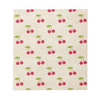 Red Cherries Tiny Cherry Print Rustic Vintage Memo Pads