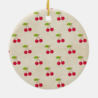 Red Cherries Tiny Cherry Print Rustic Vintage Round Ceramic Decoration