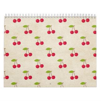 Red Cherries Tiny Cherry Print Rustic Vintage Wall Calendar