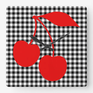 Red Cherries with Black Gingham Square Wall Clocks