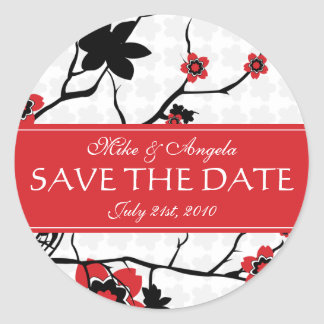 Red Cherry Blossom Sakura Save the Date Round Sticker
