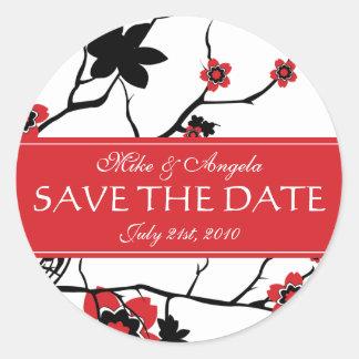 Red Cherry Blossom Sakura Save the Date Sticker