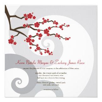 Red Cherry Blossom Sakura Swirls Wedding Invite Custom Invites