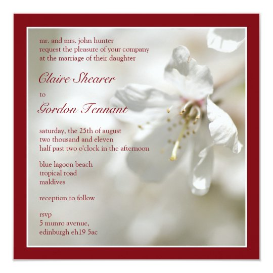 Red Cherry Blossom Wedding Invitiation Card
