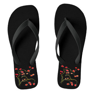 Red Cherry Blossoms accent Black Thongs