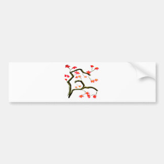 Red Cherry Blossoms accent Bumper Sticker