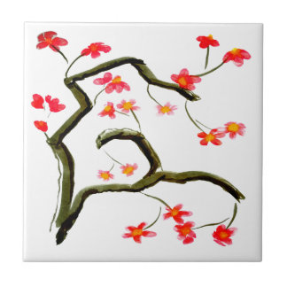 Red Cherry Blossoms accent Ceramic Tile