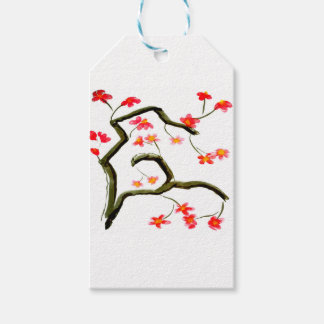 Red Cherry Blossoms accent Gift Tags