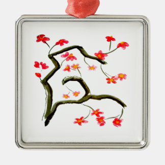 Red Cherry Blossoms accent Metal Ornament