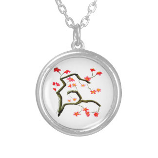 Red Cherry Blossoms accent Silver Plated Necklace