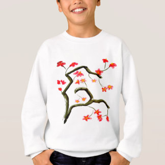Red Cherry Blossoms accent Sweatshirt