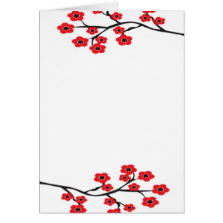 Red Cherry Blossoms Card