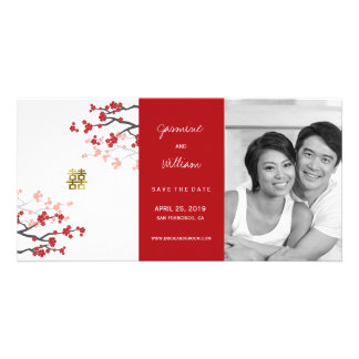 Red Cherry Blossoms Double Happiness Save The Date Personalised Photo Card