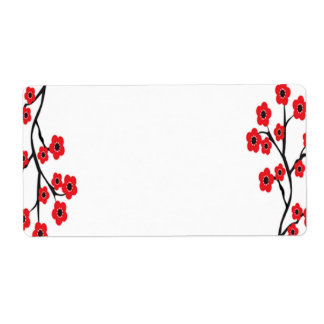 Red Cherry Blossoms Label Shipping Label