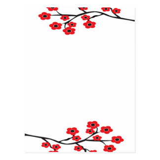 Red Cherry Blossoms Postcard