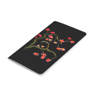 Red Cherry Flower accent Black Journal
