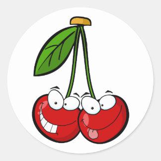 Red Cherry's Cartoon Characters Round Sticker