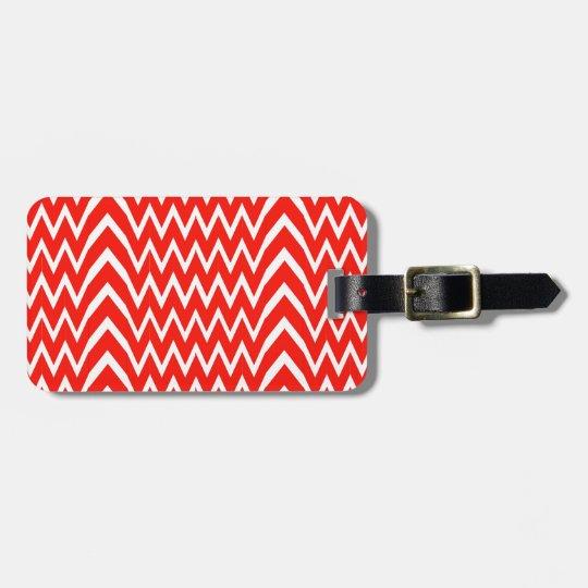 Red Chevron Illusion Luggage Tag