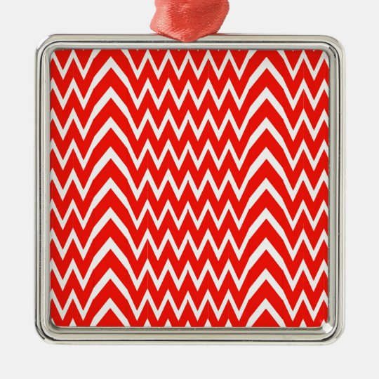 Red Chevron Illusion Metal Ornament