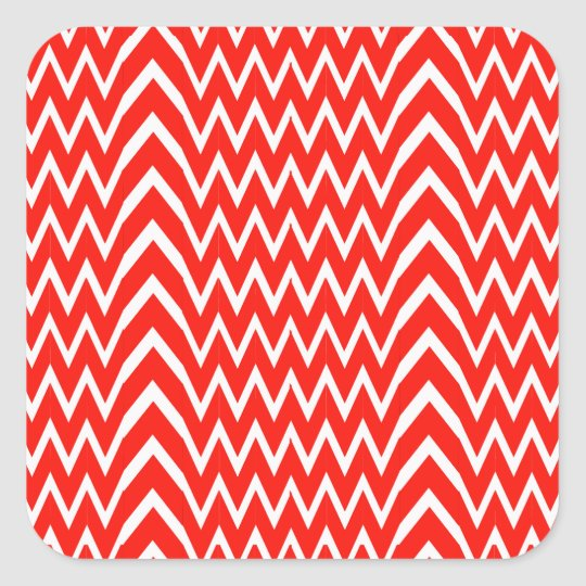 Red Chevron Illusion Square Sticker