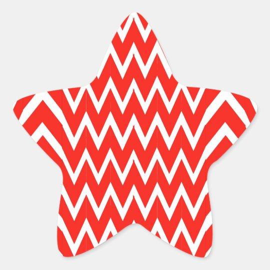 Red Chevron Illusion Star Sticker