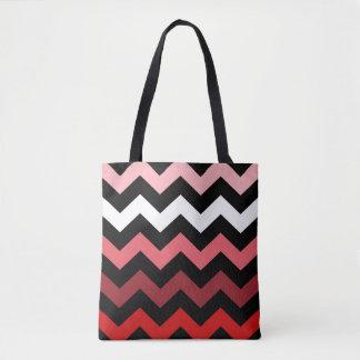 Red Chevron Tote Bag