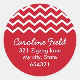Red chevron zigzag pattern zig zag address label