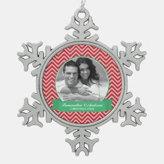 Red Chevrons Pattern Custom Photo Snowflake Pewter Christmas Ornament