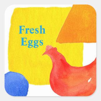 Red Chicken Fresh Eggs Square Sticker