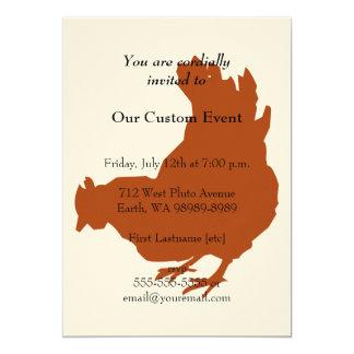 Red Chicken Hen 13 Cm X 18 Cm Invitation Card