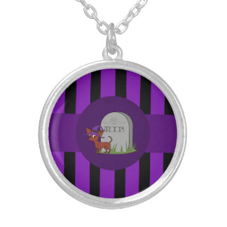 Red Chihuahua Witch with Grave & Purple Stripes Round Pendant Necklace