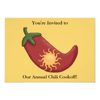 """Red Chili Pepper Firecracker - Western BBQ Party 5"""" X 7"""" Invitation Card"""