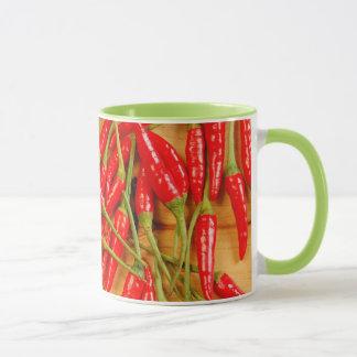 Red chili pepper print coffee mug