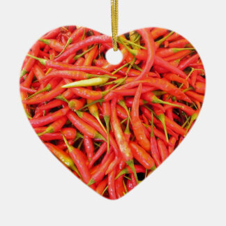Red Chili Peppers Ceramic Heart Decoration