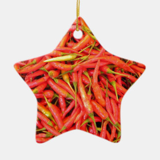 Red Chili Peppers Ceramic Star Decoration