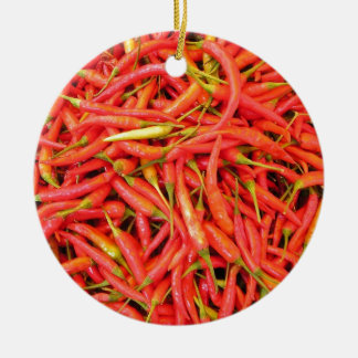 Red Chili Peppers Round Ceramic Decoration