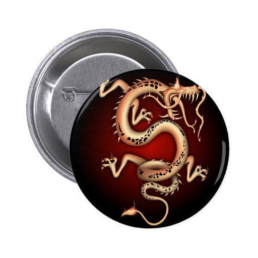 Red chinese Dragon Buttons