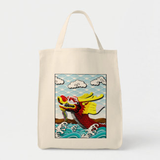 Red Chinese Dragon Grocery Tote Bag