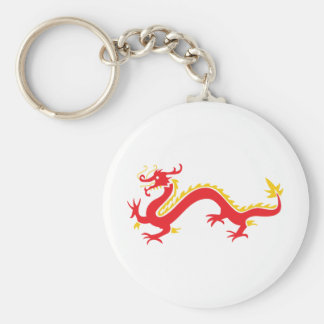 Red Chinese Dragon Basic Round Button Key Ring