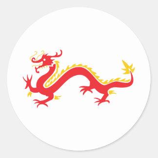 Red Chinese Dragon Round Sticker