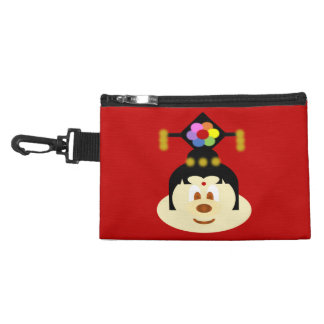 Red Chinese Female Hat 鮑 鮑 Gray Clip Bag