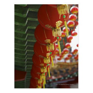 Red Chinese lanterns hanging from temple Postcard