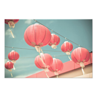 Red Chinese Paper Lanterns Photo Print