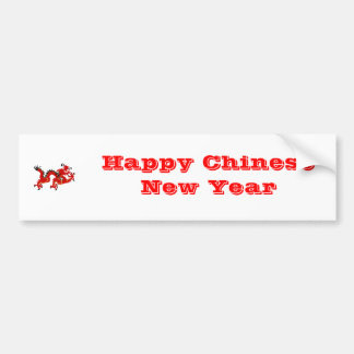 Red Chinese Style Dragon Car Bumper Sticker