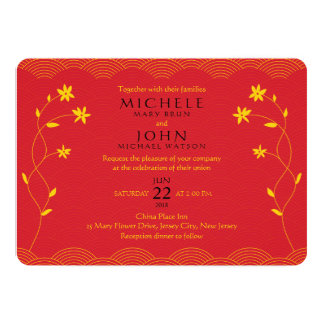 Red Chinese Themed Floral Wedding Invitation