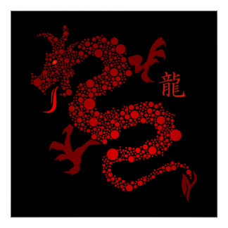 Red Chinese Year of the Dragon Poster