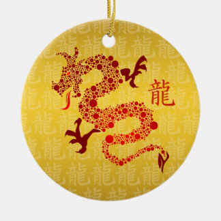 Red Chinese Year of the Dragon Round Ceramic Decoration