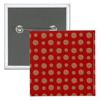 Red chocolate chip cookies pattern button