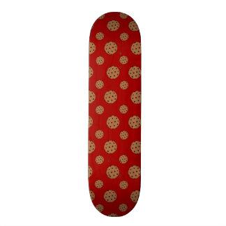 Red chocolate chip cookies pattern custom skate board