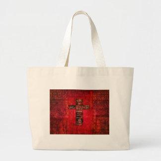 Red Christian Cross Contemporary Religious Art Canvas Bag